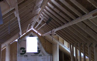 This image shows that in custom modular homes attics may typically be unobstructed by trusses.